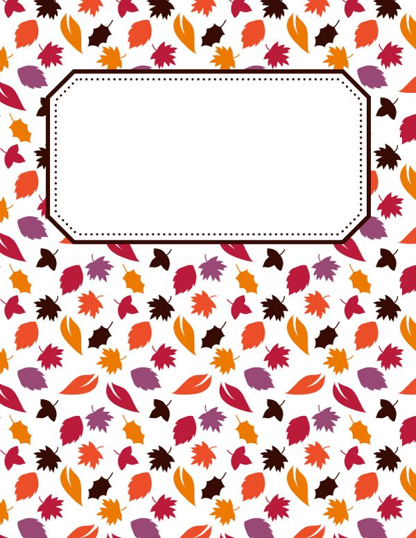 Free printable fall leaves binder cover template. Download the cover in JPG or PDF format at http://bindercovers.net/download/fall-leaves-binder-cover/