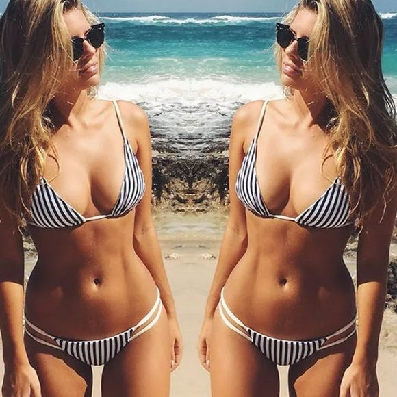 ✨B&W stripe bikini✨ Minimalistic , simple and sexy bikini set in black and white stripes, as seen on Tash Oakley ❤️❤️. Self tie straps for a comfortable fit. Light padding . Sexy and effortless. Not by FP, tagged for style preference only Free People Swim Bikinis