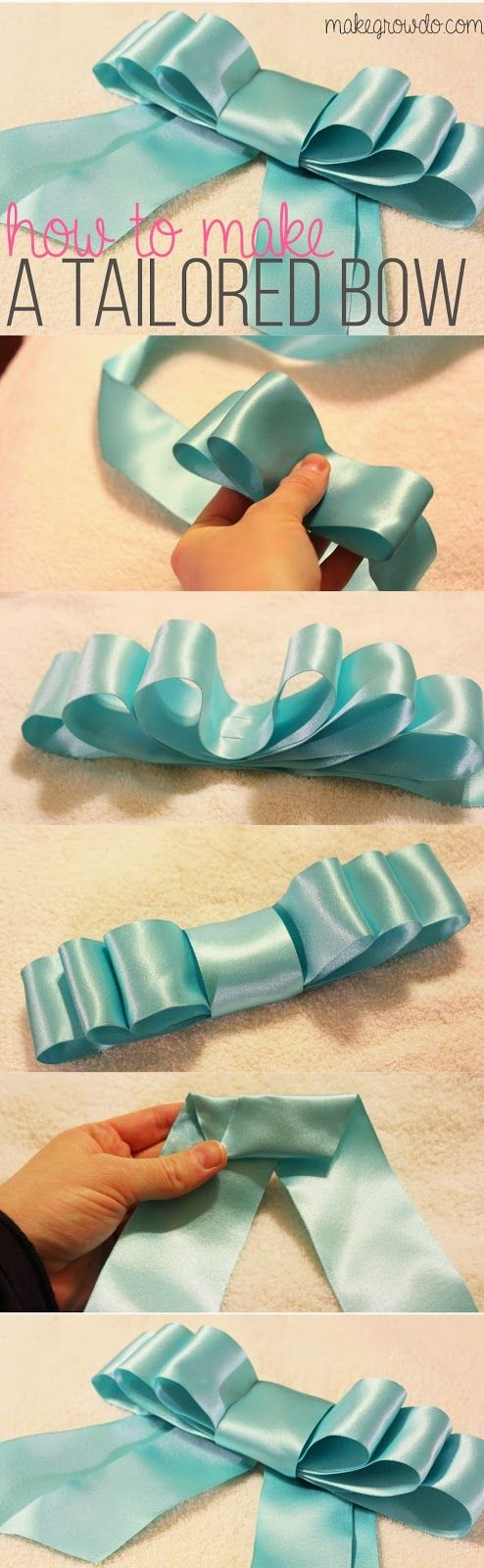 How to Make a Tailored Bow. Perfect for wreaths, packages, and hair barrettes! _ MakeGrowDo.com