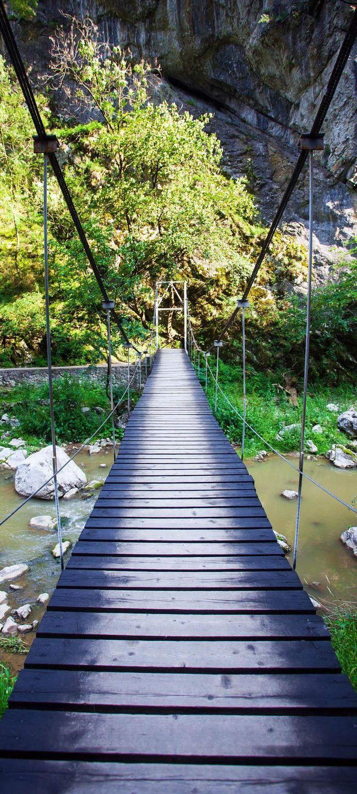 Suspended bridge in Turda Gorges National Park, Transylvania - Romania…