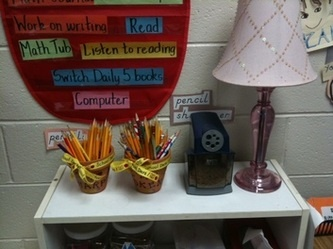 During the day, pencils break.  To reduce or eliminate pencil sharpening during the day, have two buckets: one for sharpened pencils and the other for pencils that need to be sharpened. Students place their broken pencil in a pot and grab a sharp pencil from the other pot. You can also have a designated pencil sharpener as one of your classroom jobs.