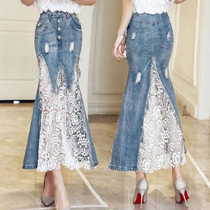 Neue Mode Frauen Denim Lace Mermaid Röcke Sommer Hohe Taille Jean Lange Sk … …