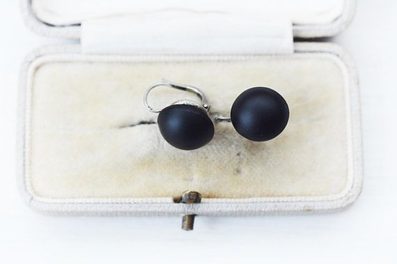 ANTIQUE Classical Matte French Jet Mourning Earring Sterling