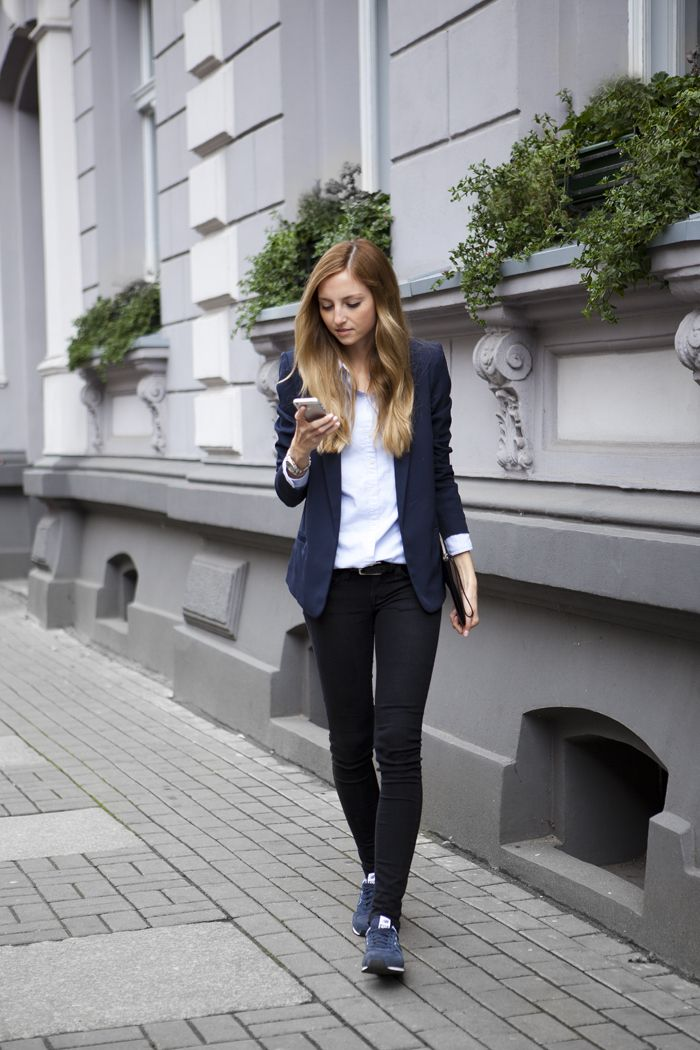 navy blazer, white button down, black jeans, slate blue sneakers