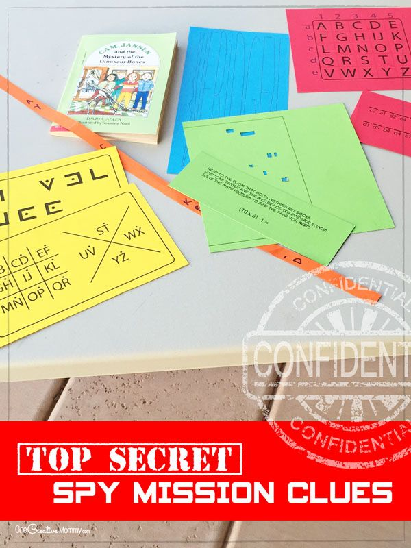 Such fun spy birthday party ideas! Send the kids to spy training and then on a top secret mission to find the hidden time bomb. Great ideas for clues, too! {OneCreativeMommy.com}