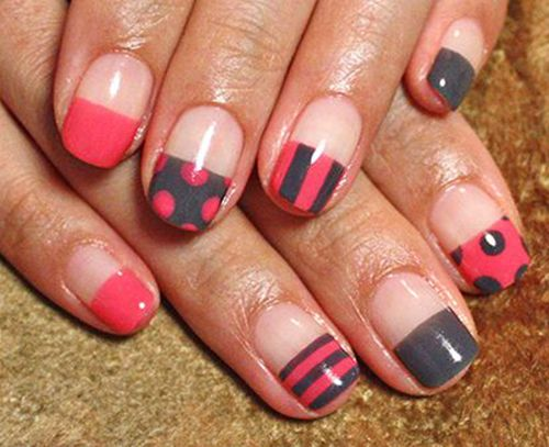 Not in love with the half nail design, but I love colors and patterns! Nail art is amazing. :)