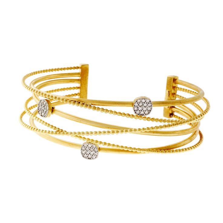 Isaac Reiss Designer Diamond Bangle Bracelet 14k Yellow Gold 6 Row - petersuchyjewelers