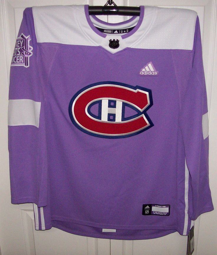 Hockey Fights Cancer Montreal Canadiens Purple 255J Adidas NHL Authentic Pro Jersey