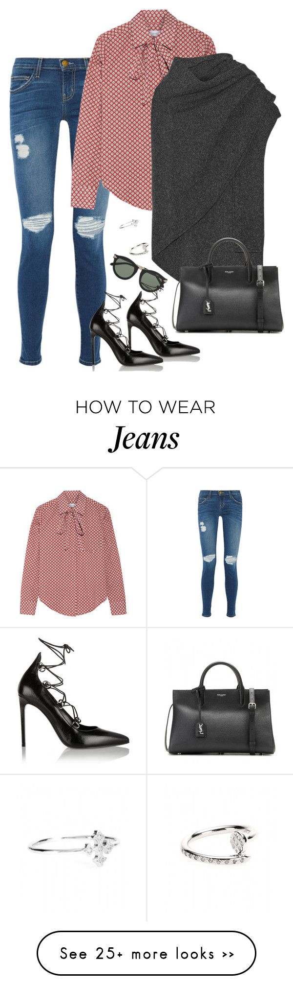 """""""Pussybow"""" by alwayswearwhatyouwanttowear on Polyvore featuring Current/Elliott, Roberto Marroni, Title A, Lemaire, Karen Walker, Yves Saint Laurent, STONE, outfit, outfits and fashionset"""