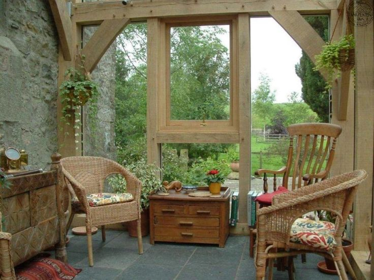 Picking Up the Best Conservatory Ideas to Make One for Yourself : Awesome Cream Conservatory Decor Ideas Interior Design With Exposed Wooden Beams Framed Also Ructic Chairs Furniture And Indoor Plants On Hanging Pots