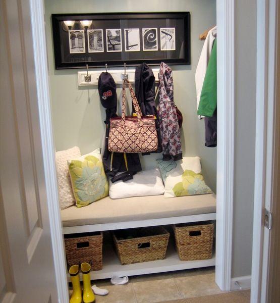 Remove Foyer Closet : Cool idea convert a hall closet into mini mudroom by