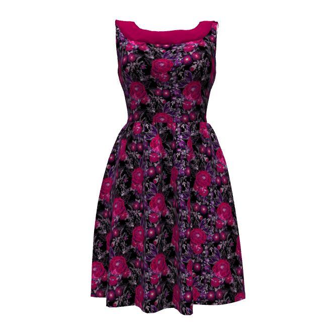 Узоры Колетт монета платье с конструкциями ли spoonflower на модели прорастают. Акварель . Красные цветы .