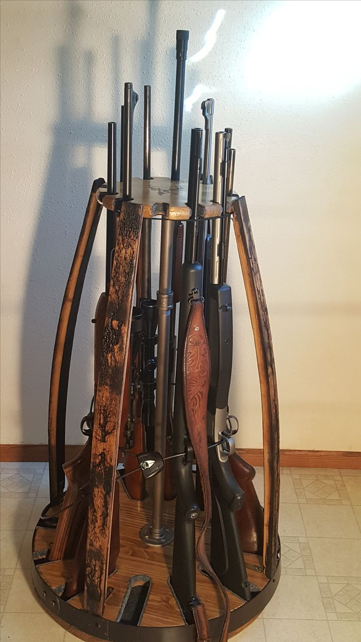 Wine Barrel Project Gun Rack