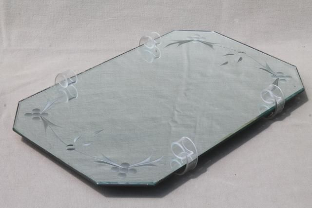 deco vintage beveled glass mirror tray plateau w/ curlicue lucite stand feet