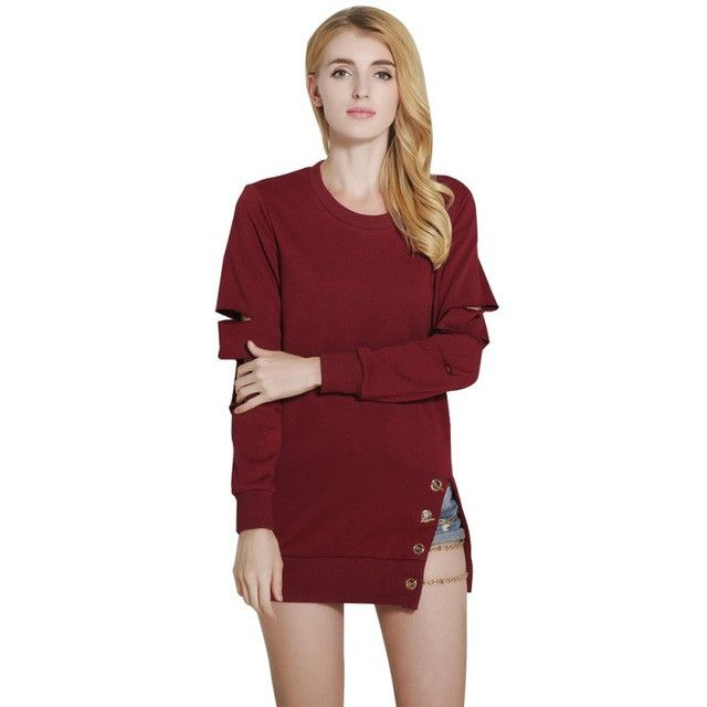 Women Long Style Hollow Out Chain Head Hedging Design Loose Hoodies Ladies Pullover Tops