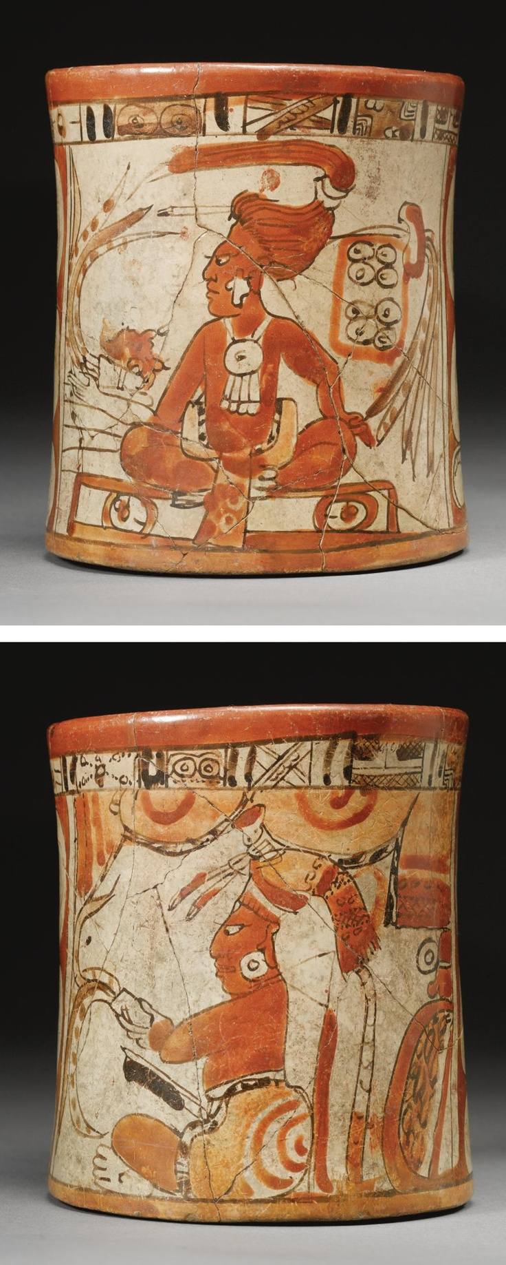 A MAYA POLYCHROME VESSEL,  LATE CLASSIC, CA. A.D. 550-950  brightly painted, one side with a young lord, perhaps as Hero Twin observing the codex with human mask ontop, the lord with high swept long coiffure and large disc pendant with dangles, the reverse with a turbaned lord holding a plumed implement, perhaps perforator, wearing tiedye loincloth, with large pillow behind and swaggered curtains above, a skyband encircling the rim.