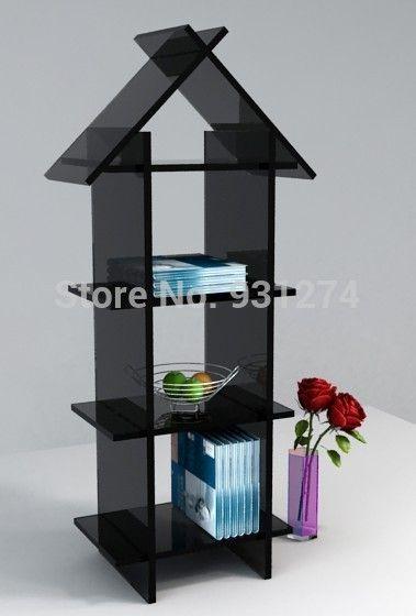 Бесплатная доставка складной современный бренд мода напольные черный акриловые книжный шкаф новый книжная полка книжная полка книжный шкаф для дома