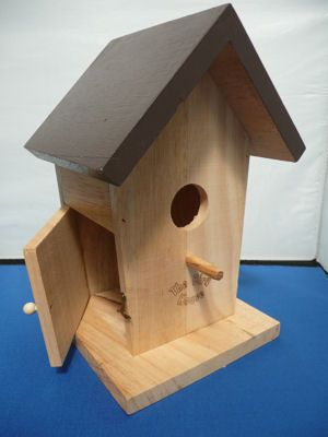 £6.99 Wooden Bird House. Most bird houses emphasise simplicity, but please don't forget a small stand for the bird to rest before entering the house :-)