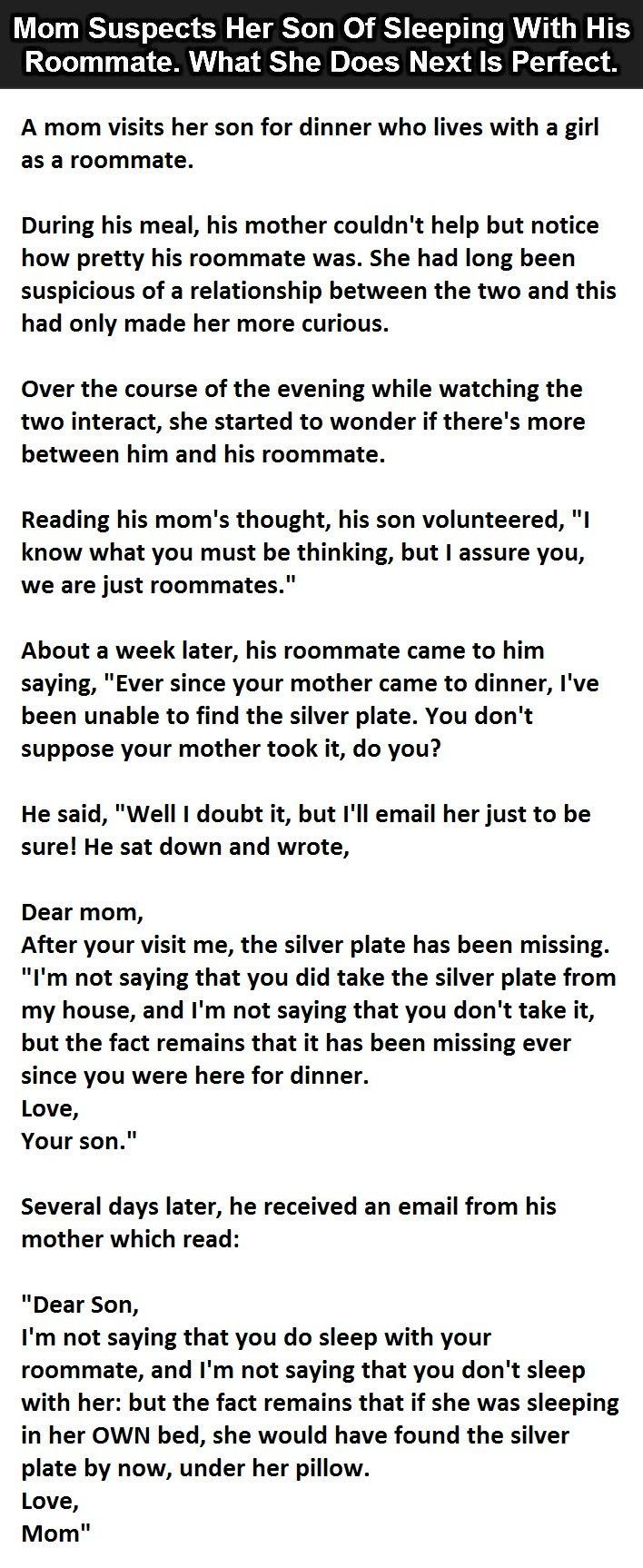 Mom Suspects Her Son Of Sleeping With His Roomate What She Does Next Is Perfect funny jokes story lol funny quote funny quotes funny sayings joke hilarious humor stories funny jokes