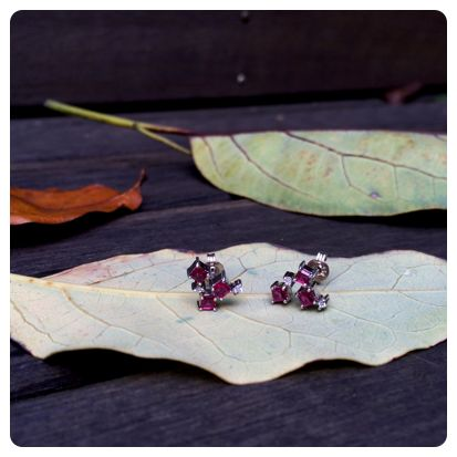 Ruby and Diamond earrings in  18 carat white gold