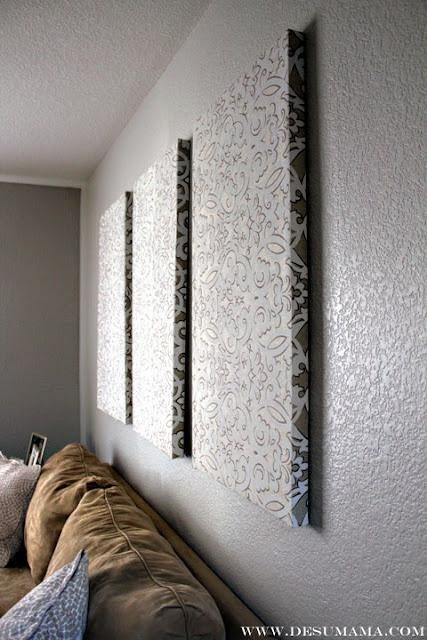 Doe meer met je gordijnen! Zoals hier met de restanten een schilderij maken, eenvoudig en mooi effect.