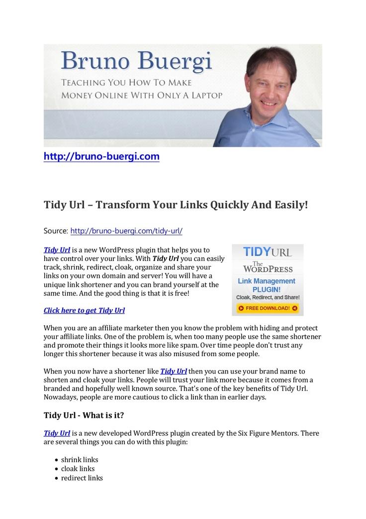 tidy-url-a-new-plugin-to-transform-your-links by Bruno Bürgi via Slideshare