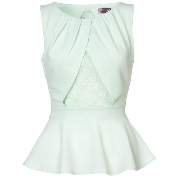 Lipsy Knot Front Peplum Top (€23) ❤ liked on Polyvore featuring tops, blouses, shirts, blusas, mint, sleeveless blouse, peplum blouse, mint green shirt, party blouses and green top