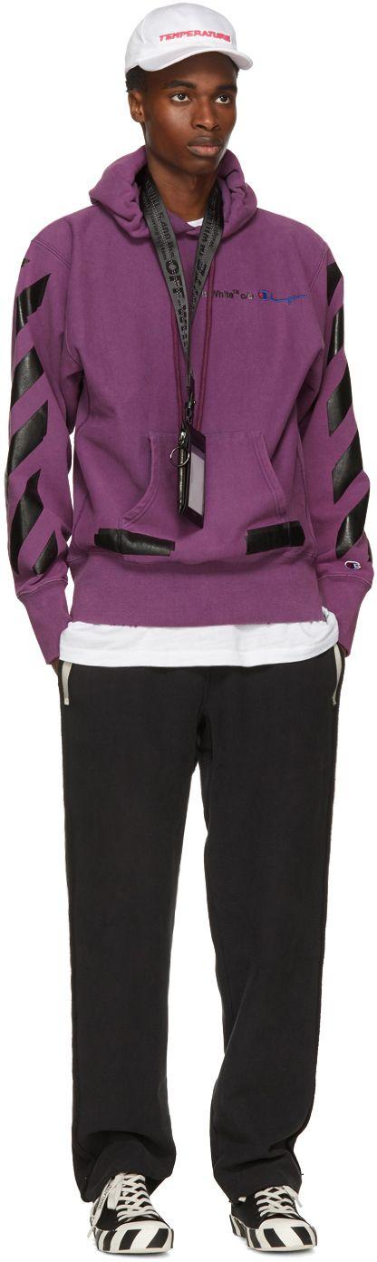 Off-White - Purple Champion Reverse Weave Edition Hoodie