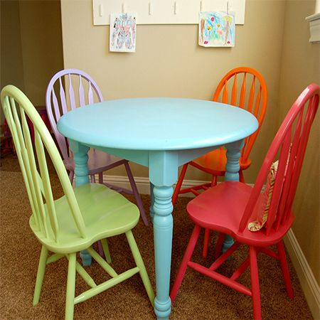 Kitchen Table With Multi Colored Chairs