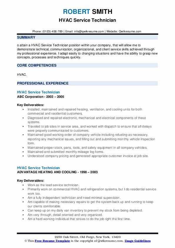 Hvac Technician Job Description Resume Lovely Hvac Service Technician Resume Samples In 2020 Hvac Technician Job Description Teacher Resume Examples