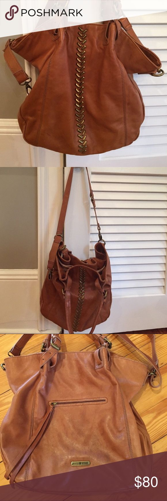 Lucky Brand purse Leather lucky brand slouchy purse, 100% leather, has use to it but in good condition for a new owner! Inside is clean no stains, can be used as a should bag or arm bag or crossbody. Measure app. 13.5 x 15. Some water marks but hard to see. 100% authentic ! Originally 180! Lucky Brand Bags Shoulder Bags