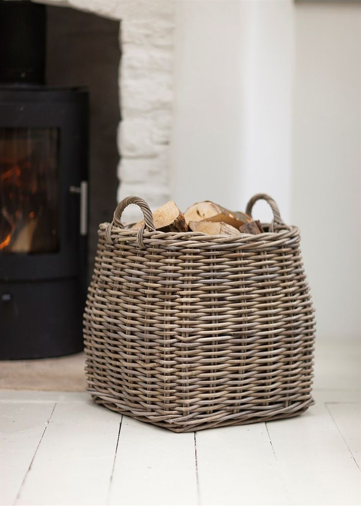 Even if a fireplace doesn't burn real wood I like the idea of having a basket with wood for decor.