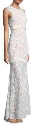 BCBGMAXAZRIA Leaf Dot Lace Floor-Length Gown/ wedding dress! Lacewedding dress
