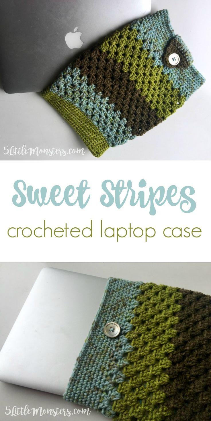 Free crochet pattern: Sweet Stripes Laptop Case by 5 Little Monsters