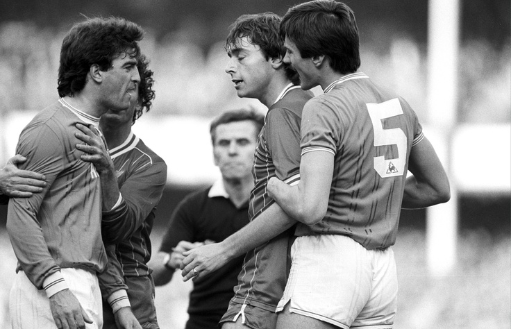 The 'Friendly derby': Liverpool's Michael Robinson and Everton's Kevin Ratcliffe square up at Goodison