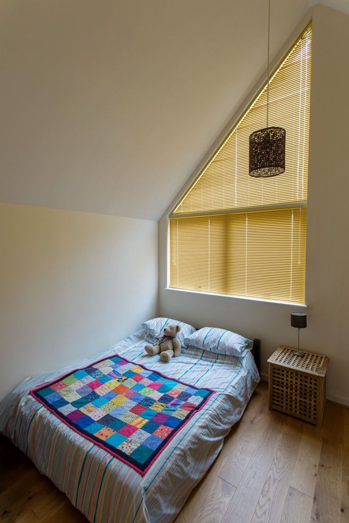 Triangular Aluminium Venetian Blinds in Yellow by Grand Design Blinds; Specialists in Shaped Blinds