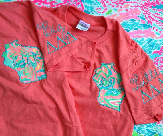 "Lilly Pulitzer Fabric State Sorority by ThePinkPineappleShop, $34.00 I'm SO OBSESSED with this design!  But for Florida and Sig Delt, without the ""big"" or ""little""."