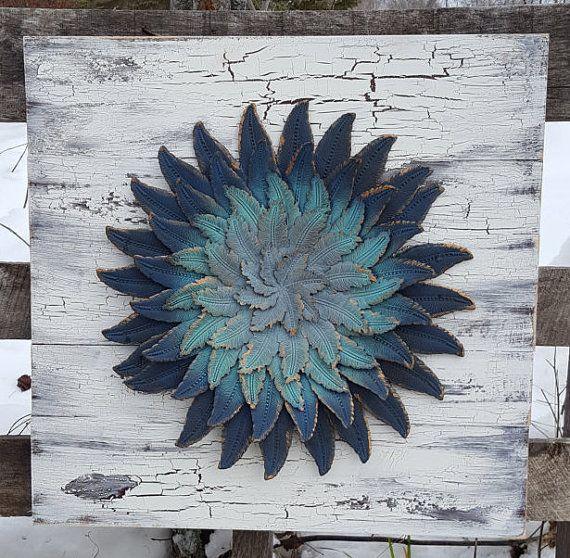 Reclaimed Wood Wall Art, Metal Wall Art, Metal Flower Wall Art, Flower Decor, Flower Wall Decor, Flower Wall Art, Reclaimed Wood Wall Decor