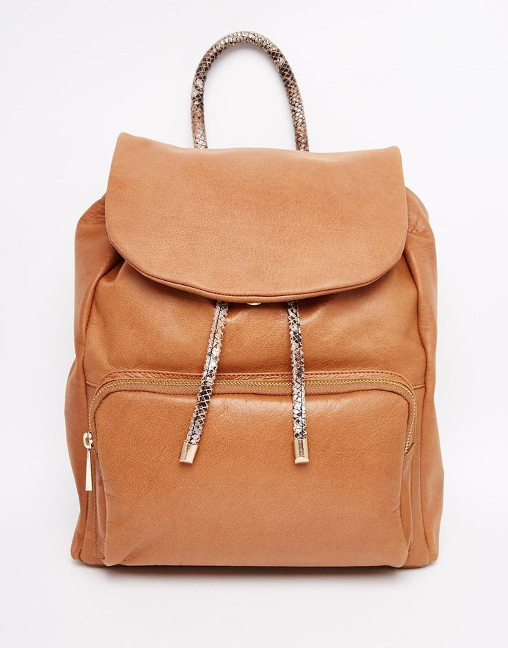 Image 1 ofUrbancode Leather Backpack With Colour Pop Handle