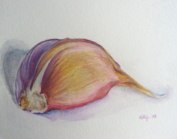 Garlic Clove, original still life watercolour painting on Etsy, £80.00