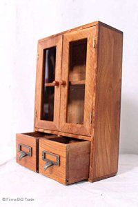 Armoire à épices Parfum Armoire à liqueur 2tiroirs Armoire de rangement boîte à verre portes battantes