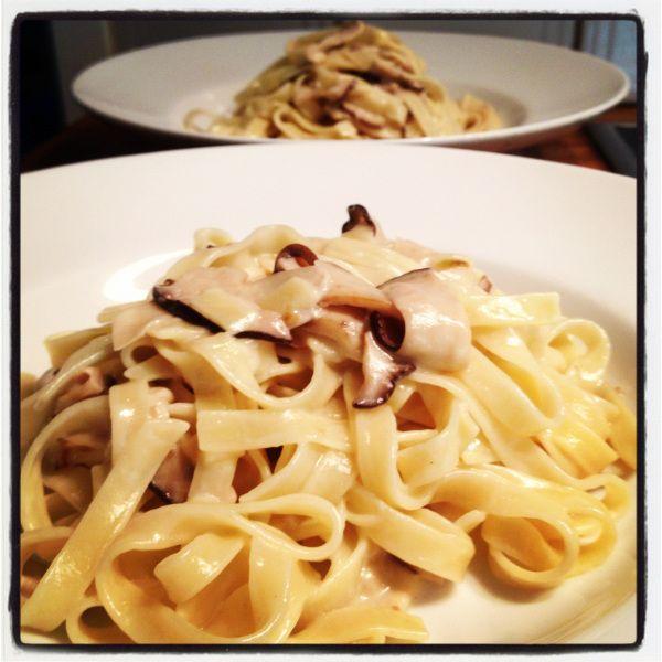 Italiensk Pasta Med Karljohansvamp Tagliatelle Ai Funghi Porcini