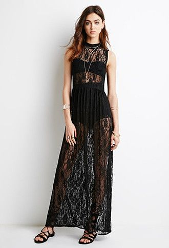 High-Neck Lace Maxi Dress | Forever 21 - 2000076630