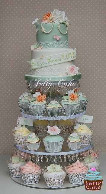 Vintage Pearls and Roses Wedding Cupcake Tower