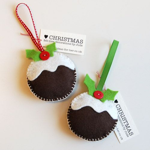 How to make Christmas felt decorations (Christmas pudding, tree, gingerbread man, heart, star)