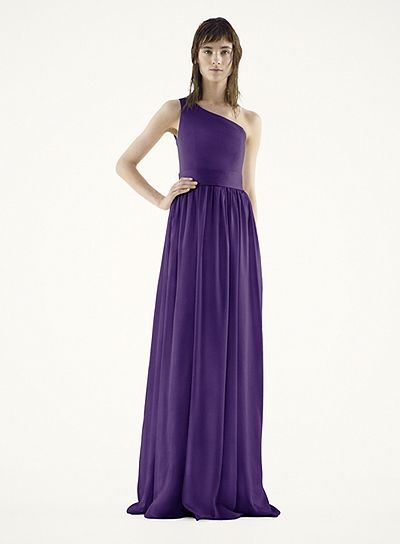 White by Vera Wang - MORE COLORS One Shoulder Dress with Satin Sash Style VW360215 In Store & Online $188.00