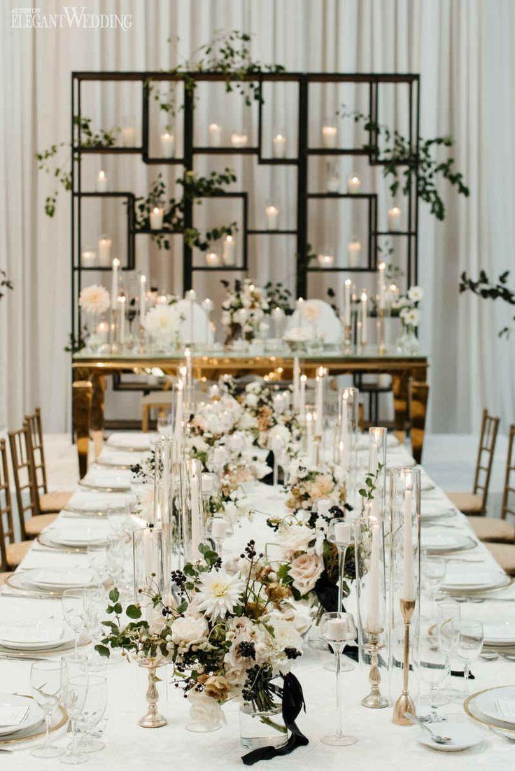 modern black and white wedding   centerpieces   minimalist wedding