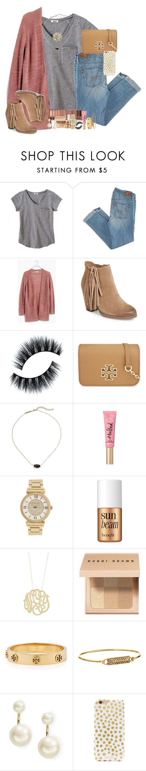 """""""yourrr holyyyyyy"""" by smbprep ❤ liked on Polyvore featuring American Eagle Outfitters, Madewell, Vince Camuto, Tory Burch, Kendra Scott, Urban Decay, Too Faced Cosmetics, Michael Kors, Benefit and Ginette NY"""