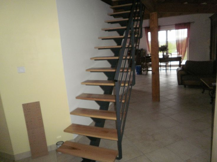 Escalier droit limon central fer et bois 2 escalier pinterest - Escalier bois et fer ...