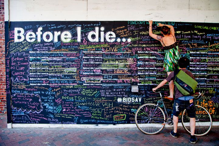 After the death of a close friend Candy Chang installed these black board walls in cities and people wrote down what they wanted to do before they die. Candy Chang. (2011). Before I Die. Available: http://candychang.com/before-i-die-in-nola/. Last accessed 12th November 2013.